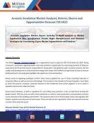Acoustic Insulation Market Analysis, Drivers, Shares and Opportunities Forecast Till 2025