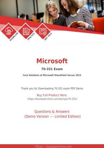 Real 70-331 Dumps PDF - Latest Microsoft 70-331 PDF by DumpsArchive