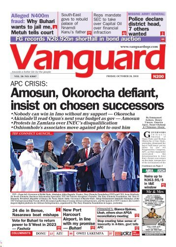 26102018 - APC CRISIS: Amosun, Okorocha defiant, insist on chosen successors