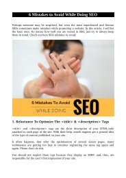 6 Mistakes to Avoid While Doing SEO