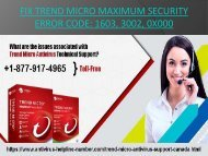 Dial +1-877-917-4965 | Fix Trend Micro Maximum Security Error Code 1603, 3002, 0x000