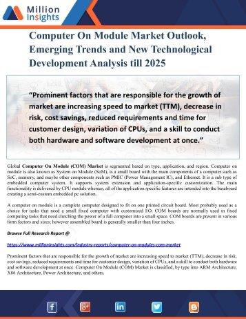 Computer On Module Market Outlook, Emerging Trends and New Technological Development Analysis till 2025