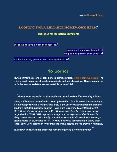 Looking For A Reliable Homework Help Malaysia