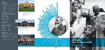 Göttingen Stadt, die Wissen schafft City of Science - Aktuelles