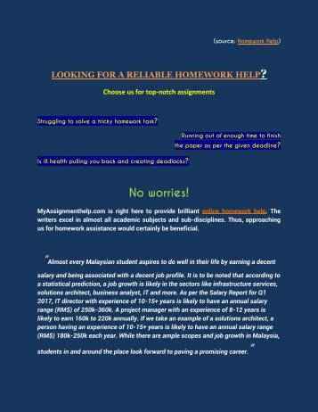 LOOKING FOR A RELIABLE HOMEWORK HELP- MALAYSIA