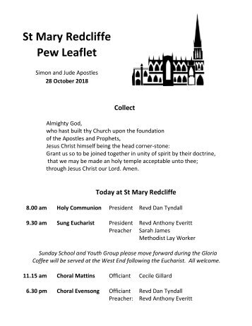 St Mary Redcliffe Church Pew Leaflet - October 28 2018