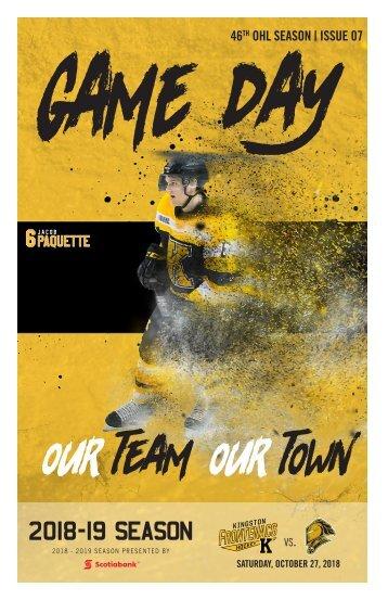 Kingston Frontenacs GameDay October 27, 2018