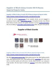 Supplier of Black Galaxy Granite UK US Russia Imperial Exports India