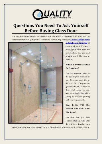 Questions You Need To Ask Yourself Before Buying Glass Door