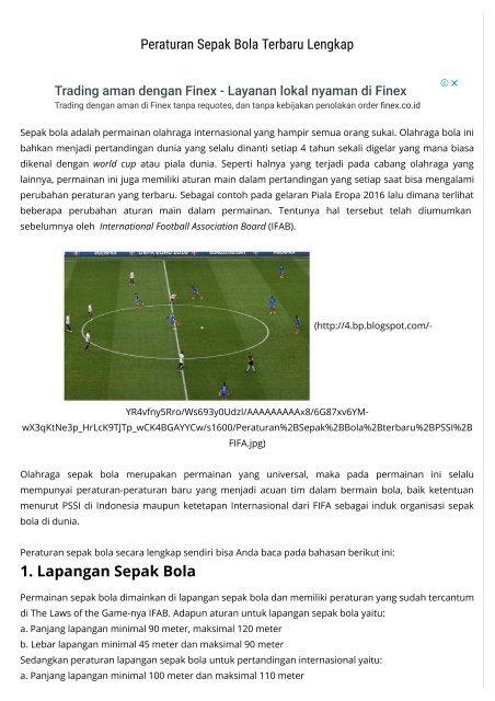 Peraturan Sepak Bola Terbaru Lengkap Kabar Sport