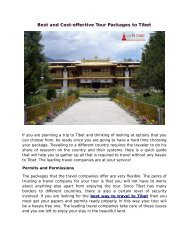 Best and Cost-effective Tour Packages to Tibet