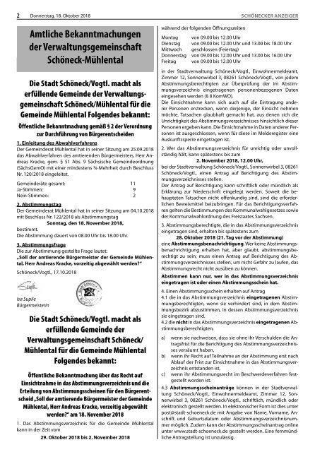 Schönecker Anzeiger Oktober 2018