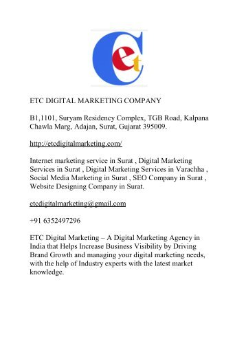 ETC DIGITAL MARKETING COMPANY