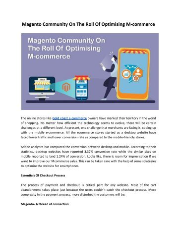 Magento Community On The Roll Of Optimising M-commerce