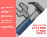 What to Look for in SEO Tools