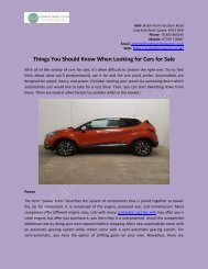 Things You Should Know When Looking for Cars for Sale