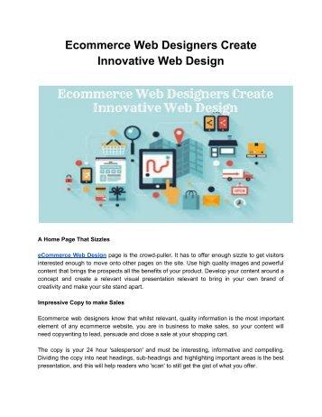 Ecommerce Web Designers Create Innovative Web Design