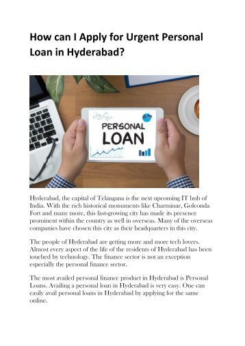 How can I Apply for Urgent Personal Loan in Hyderabad