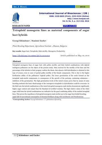 Tetraploid monogerm lines as maternal components of sugar beet hybrids
