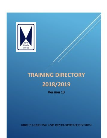 Training Directory - 2018-2019