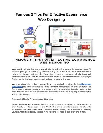 Famous 5 Tips For Effective Ecommerce Web Designing