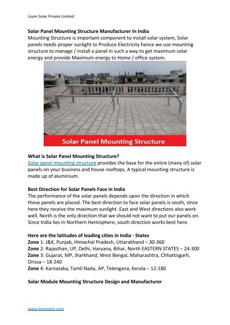 Solar Panel Mounting Structure Manufacturer In India - PDF