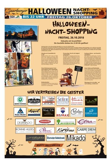 Halloween Nacht-Shopping in Saarburg am Freitag, 26.10.2018