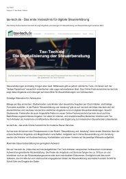 tax-tech.de - Das erste Verzeichnis fuer digitale Steuererklaerung