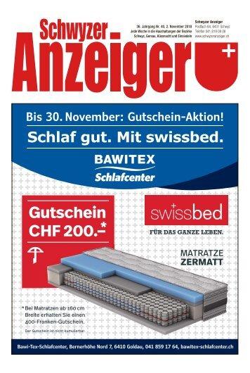 Schwyzer Anzeiger – Woche 44 – 2. November 2018