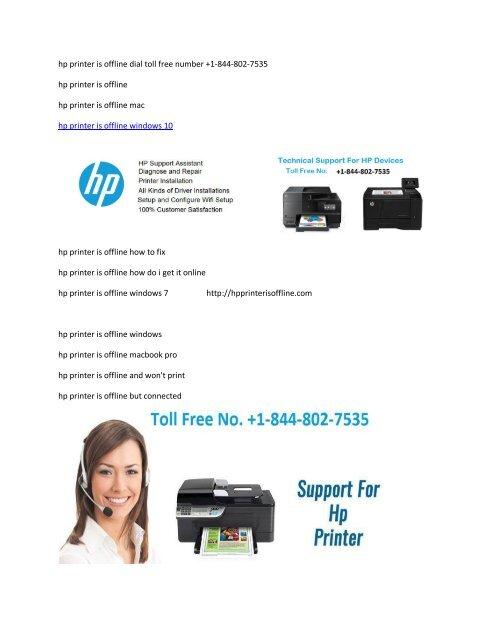 hp printer is offline dial toll free number 844-802-7535
