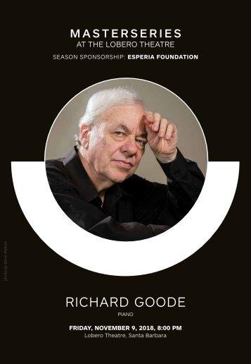 CAMA's Masterseries Presents Richard Goode, Piano—Friday, November 9, 2018, Lobero Theatre, Santa Barbara, 8:00 PM