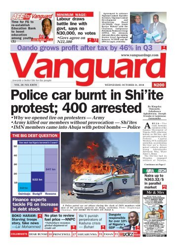31102018 - Police car burnt in Shi'ite protest ; 400 arrested