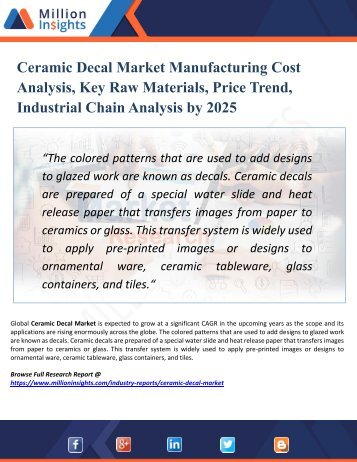 Ceramic Decal Market Segmented by Material, Type, Application, and Geography - Growth, Trends and Forecast 2025