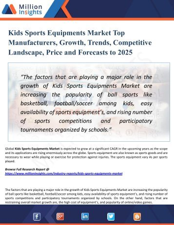 Kids Sports Equipments Market Segmentation and Analysis by Recent Trends, Development and Growth by Trending Regions 2025