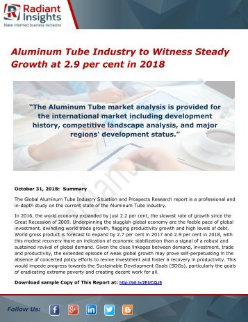 Aluminum Tube Industry to Witness Steady Growth at 2.9 per cent in 2018