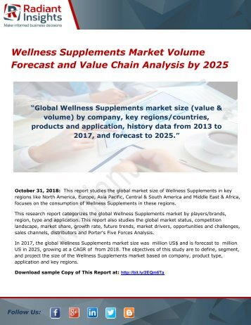 Wellness Supplements Market Volume Forecast and Value Chain Analysis by 2025