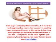 Amazing Goa escorts services by lovely Lavanya Menon