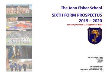 The John Fisher School Sixth Form Prospectus 2019-2021