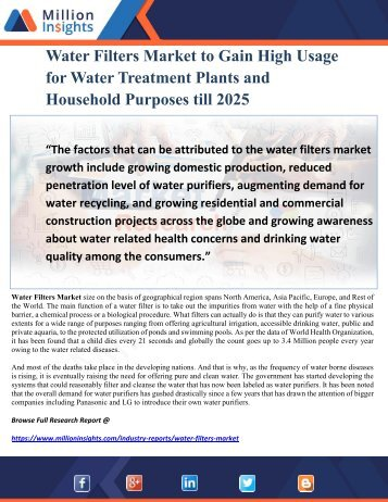 Water Filters Market to Gain High Usage for Water Treatment Plants and Household Purposes till 2025