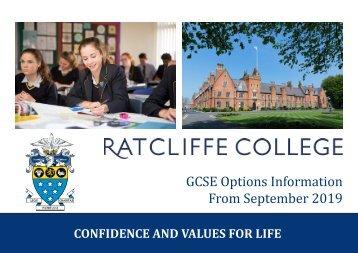 Ratcliffe College - GCSE Handbook 2019