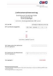 Lieferantenrahmenvertrag - Gemeindewerke Gundelfingen GmbH