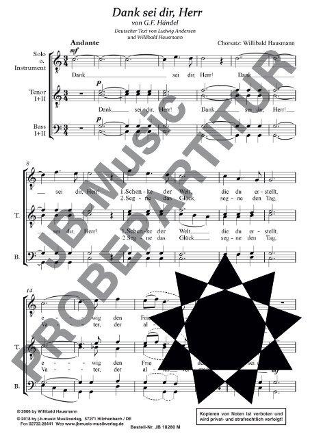 Dank sei dir, Herr  (für Männerchor TTBB mit Tenor/Sopran oder Instrumenten-Solo)