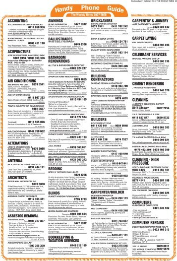 The Weekly Times - Handy Phone Guide - Local tradespeople that get the job done - 31st October 2018