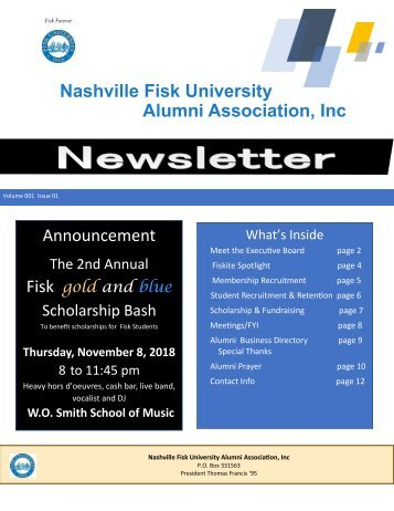 Nashville Fisk University Alumni Association Newsletter Nov 2018