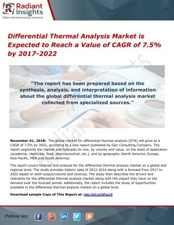 Differential Thermal Analysis Market is Expected to Reach a Value of CAGR of 7.5% by 2017-2022