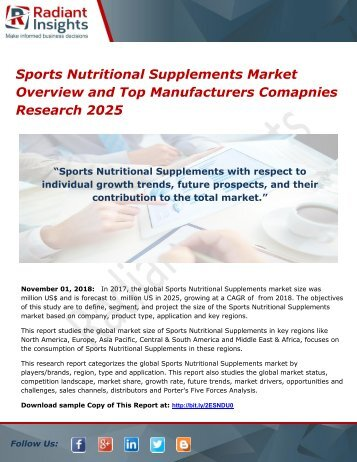 Sports Nutritional Supplements Market Overview and Top Manufacturers Comapnies Research 2025