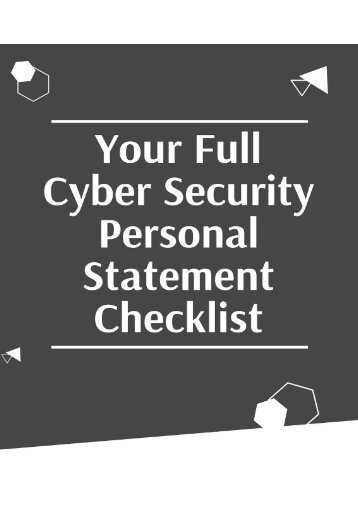 Your Full Cyber Security Personal Statement Checklist
