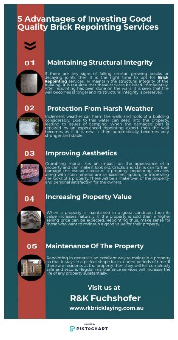 5 Advantages of Investing Good Quality Brick Repointing Services