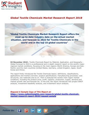 Textile Chemicals Market : Growth, Size, Analysis, Demand, Industry Share And Forecast Report 2018