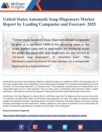 United States Automatic Soap Dispensers Market Report by Leading Companies and Forecast- 2025